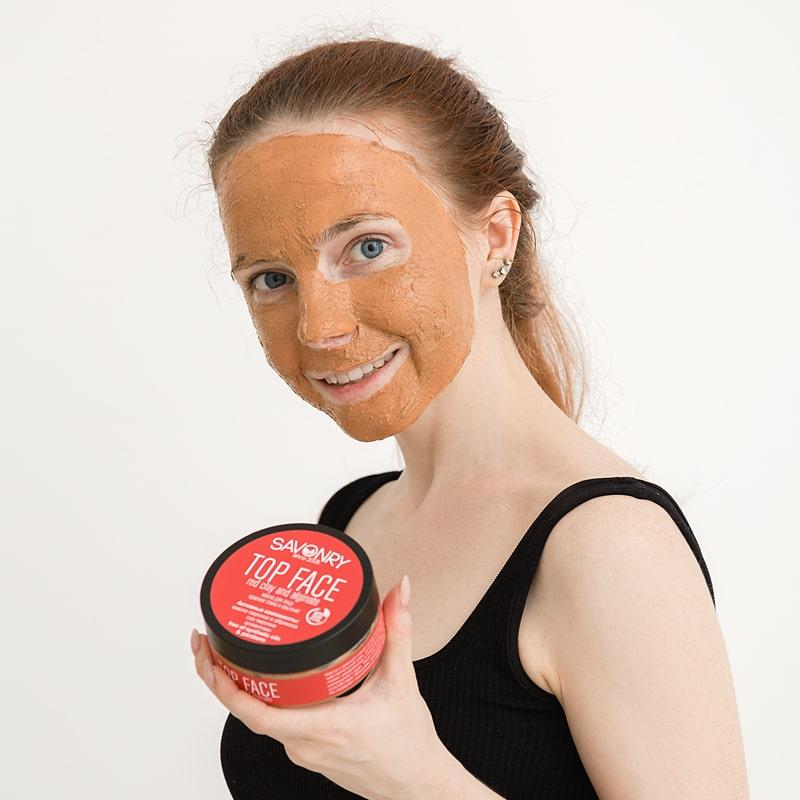 Маска для лица TOP FACE красная глина и альгинат, 150 г