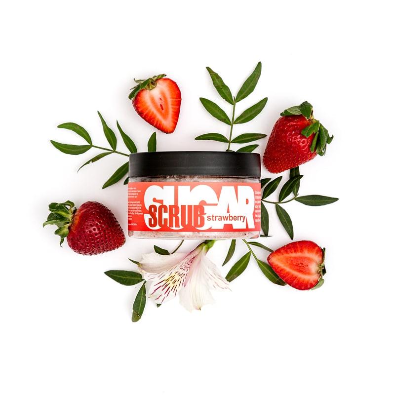 Сахарный скраб для тела STRAWBERRY (с экстрактом клубники), 300 г