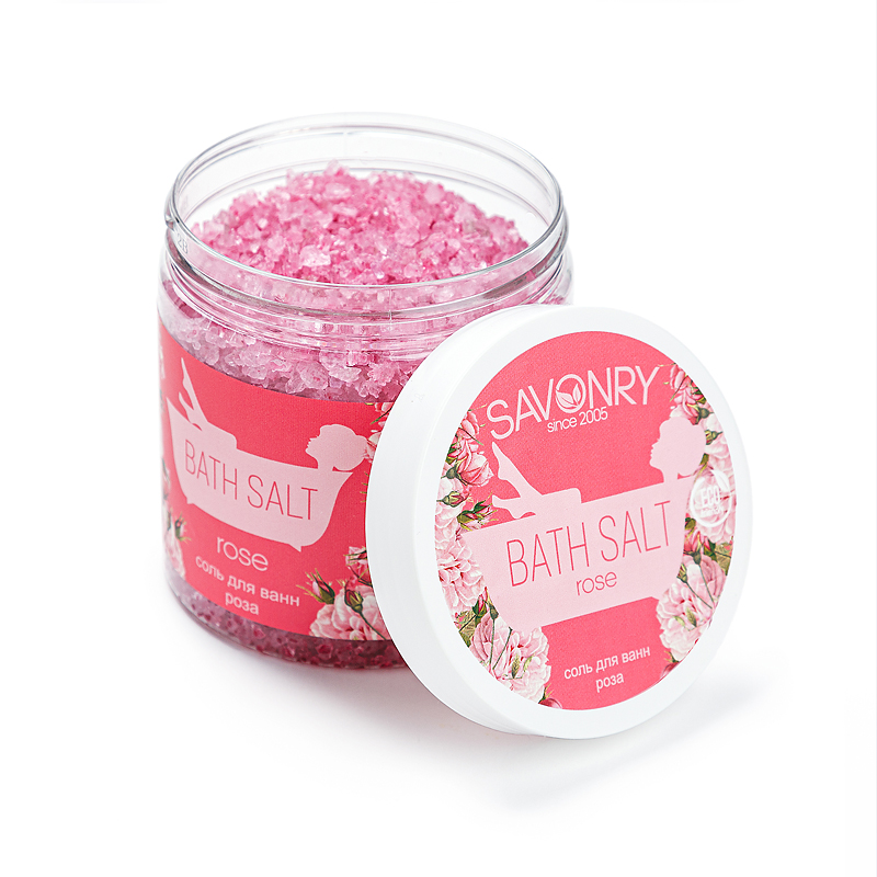 Соль для ванны (600гр) банка Rose (роза)